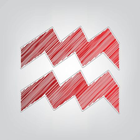 Aquarius sign illustration. Red gradient scribble Icon with artistic contour gray String on light gray Background.
