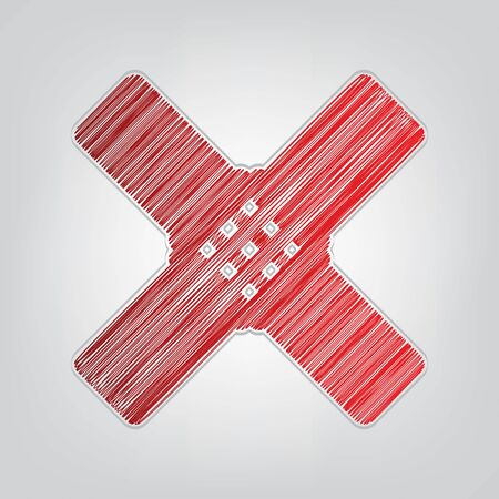 Aid sticker sign. Red gradient scribble Icon with artistic contour gray String on light gray Background. Ilustração