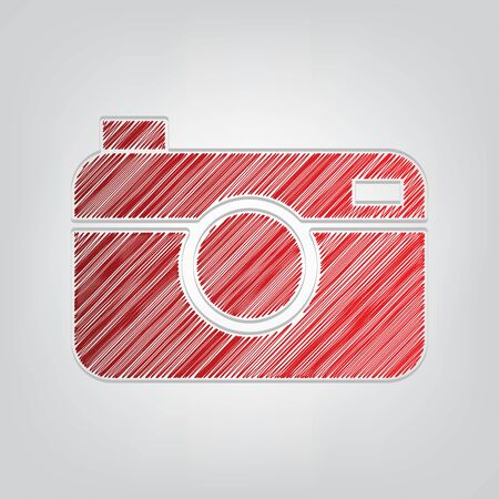 Digital photo camera sign. Red gradient scribble Icon with artistic contour gray String on light gray Background.