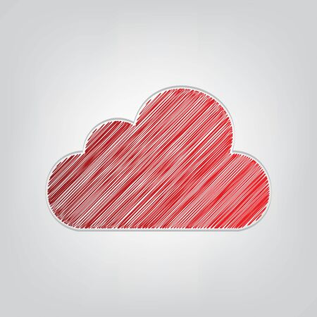 Cloud sign illustration. Red gradient scribble Icon with artistic contour gray String on light gray Background.