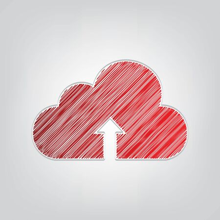 Cloud technology sign. Red gradient scribble Icon with artistic contour gray String on light gray Background. Vectores