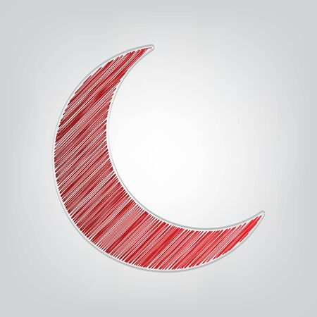 Moon sign illustration. Red gradient scribble Icon with artistic contour gray String on light gray Background.