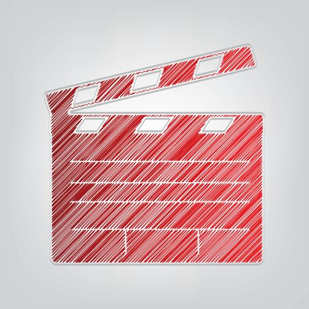 Film clap board cinema sign. Red gradient scribble Icon with artistic contour gray String on light gray Background.