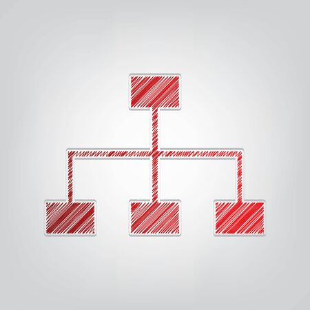 Site map sign. Red gradient scribble Icon with artistic contour gray String on light gray Background.