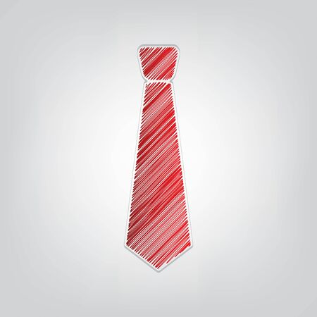Tie sign illustration. Red gradient scribble Icon with artistic contour gray String on light gray Background.