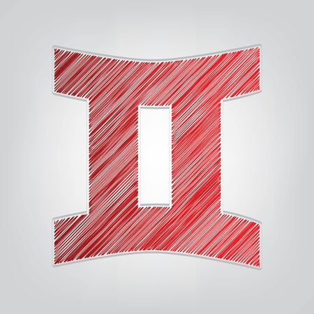 Gemini sign. Red gradient scribble Icon with artistic contour gray String on light gray Background.