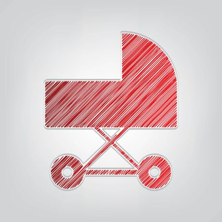 Pram sign illustration. Red gradient scribble Icon with artistic contour gray String on light gray Background.