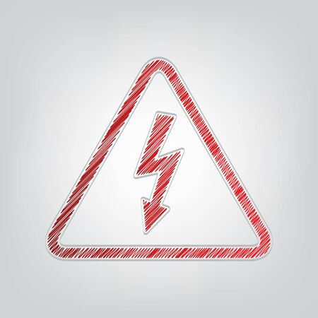 High voltage danger sign. Red gradient scribble Icon with artistic contour gray String on light gray Background.  イラスト・ベクター素材