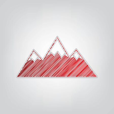 Mountain sign illustration. Red gradient scribble Icon with artistic contour gray String on light gray Background.