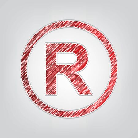 Registered Trademark sign. Red gradient scribble Icon with artistic contour gray String on light gray Background. Иллюстрация