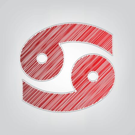 Cancer sign illustration. Red gradient scribble Icon with artistic contour gray String on light gray Background.
