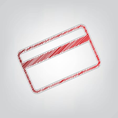 Credit card symbol for download. Red gradient scribble Icon with artistic contour gray String on light gray Background. Illusztráció
