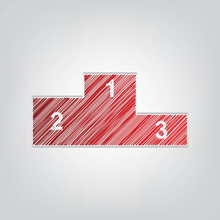 Sport winners podium. Flat style icon. Red gradient scribble Icon with artistic contour gray String on light gray Background. Vectores
