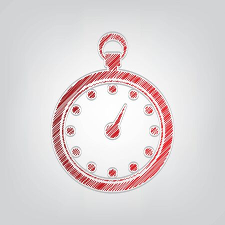 Stopwatch sign illustration. Red gradient scribble Icon with artistic contour gray String on light gray Background.