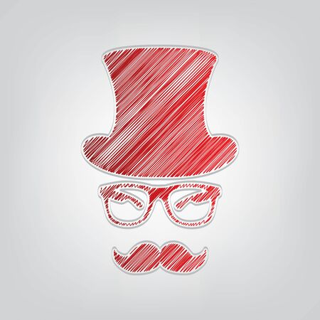 Hipster accessories design. Red gradient scribble Icon with artistic contour gray String on light gray Background.