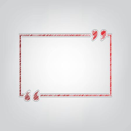 Text quote sign. Red gradient scribble Icon with artistic contour gray String on light gray Background.