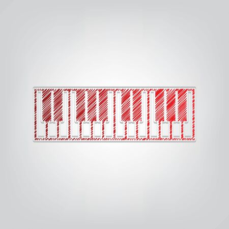 Piano Keyboard sign. Red gradient scribble Icon with artistic contour gray String on light gray Background. Vector Illustration