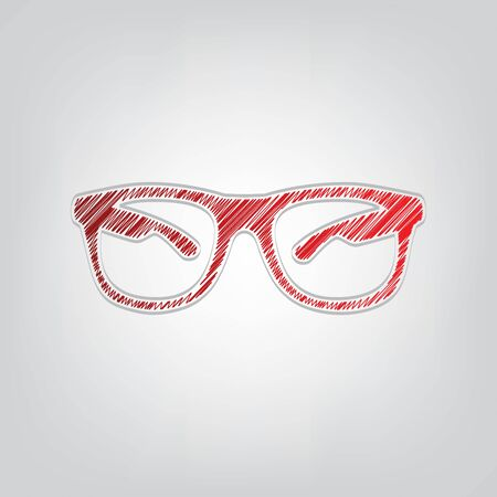 Sunglasses sign illustration. Red gradient scribble Icon with artistic contour gray String on light gray Background.