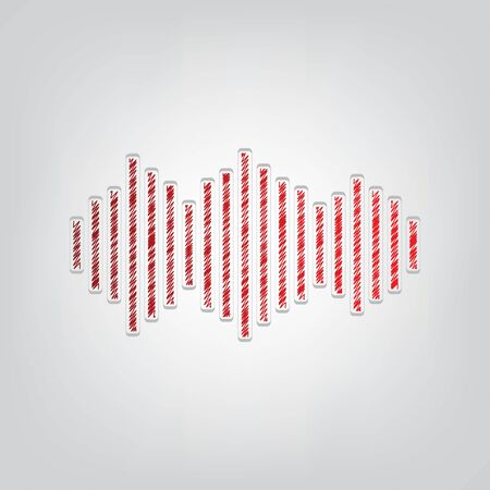 Sound waves icon. Red gradient scribble Icon with artistic contour gray String on light gray Background. Vectores