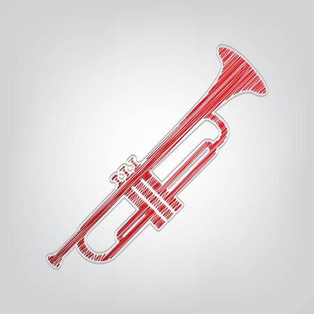 Musical instrument Trumpet sign. Red gradient scribble Icon with artistic contour gray String on light gray Background.
