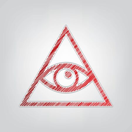 All seeing eye pyramid symbol. Freemason and spiritual. Red gradient scribble Icon with artistic contour gray String on light gray Background.
