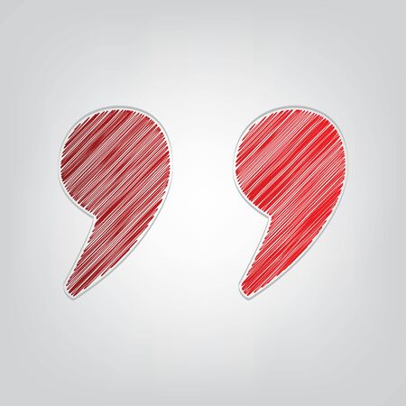 Quote sign illustration. Red gradient scribble Icon with artistic contour gray String on light gray Background.