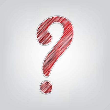 Question mark sign. Red gradient scribble Icon with artistic contour gray String on light gray Background.