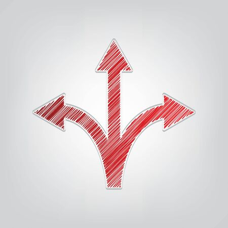 Three-way direction arrow sign. Red gradient scribble Icon with artistic contour gray String on light gray Background.