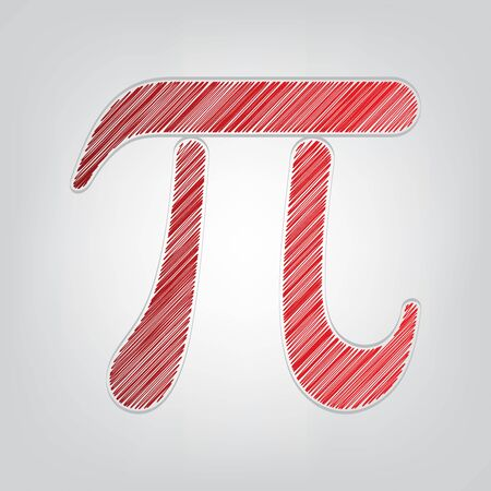Pi greek letter sign. Red gradient scribble Icon with artistic contour gray String on light gray Background.