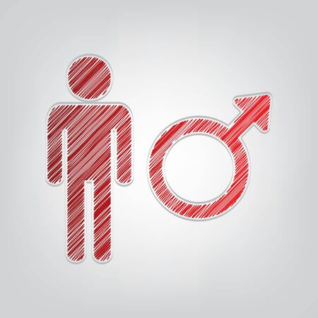 Male sign illustration. Red gradient scribble Icon with artistic contour gray String on light gray Background.