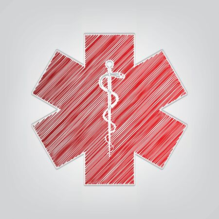 Medical symbol of the Emergency or Star of Life. Red gradient scribble Icon with artistic contour gray String on light gray Background.