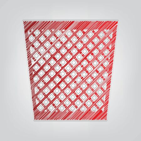Trash sign illustration. Red gradient scribble Icon with artistic contour gray String on light gray Background. Vectores