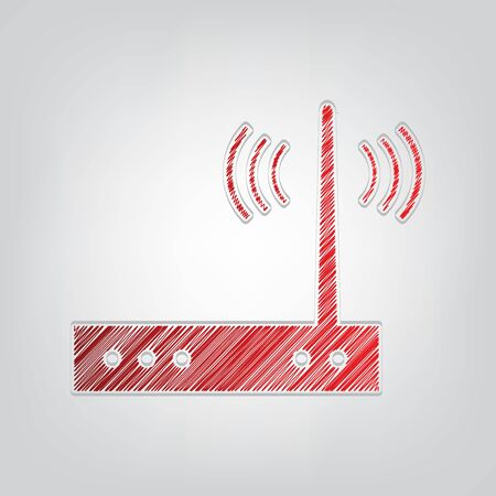 Wifi modem sign. Red gradient scribble Icon with artistic contour gray String on light gray Background.  イラスト・ベクター素材