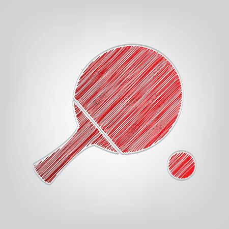 Table tennis paddle with ball. Red gradient scribble Icon with artistic contour gray String on light gray Background.