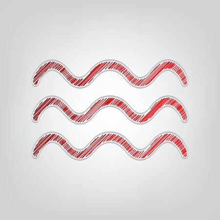Waves sign illustration. Red gradient scribble Icon with artistic contour gray String on light gray Background.