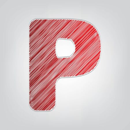 Letter P sign design template element. Red gradient scribble Icon with artistic contour gray String on light gray Background. Ilustração