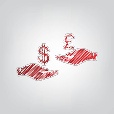 Currency exchange from hand to hand. Dollar and Pound. Red gradient scribble Icon with artistic contour gray String on light gray Background.