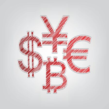 Currency sign collection dollar, euro, bitcoin, yen. Red gradient scribble Icon with artistic contour gray String on light gray Background. Vectores