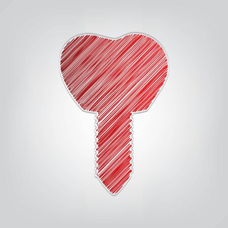 Tooth implant sign illustration. Red gradient scribble Icon with artistic contour gray String on light gray Background.