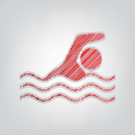 Swimming water sport sign. Red gradient scribble Icon with artistic contour gray String on light gray Background.