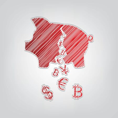 Pig money bank sign. Red gradient scribble Icon with artistic contour gray String on light gray Background.