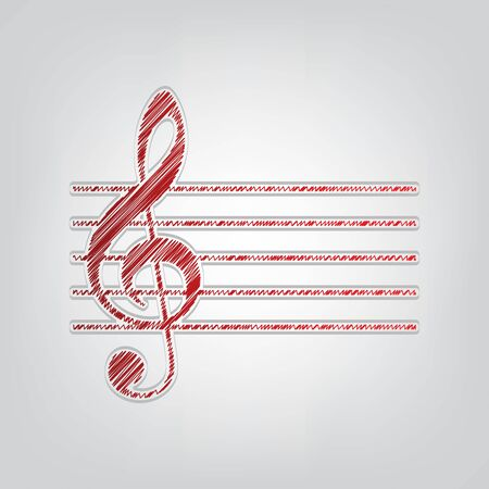 Music violin clef sign. G-clef. Red gradient scribble Icon with artistic contour gray String on light gray Background.