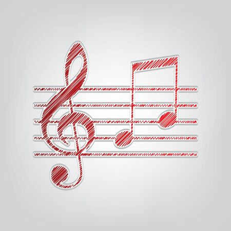Music violin clef sign. G-clef and notes G, H. Red gradient scribble Icon with artistic contour gray String on light gray Background.
