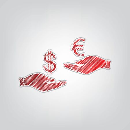 Currency exchange from hand to hand. Dollar adn Euro. Red gradient scribble Icon with artistic contour gray String on light gray Background. Stock Illustratie