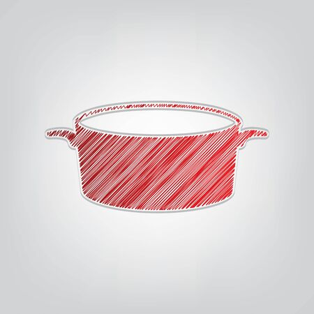 Pan sign. Red gradient scribble Icon with artistic contour gray String on light gray Background.