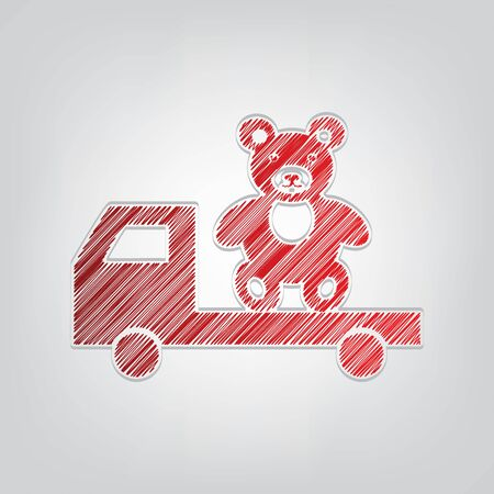 Truck with bear. Red gradient scribble Icon with artistic contour gray String on light gray Background.