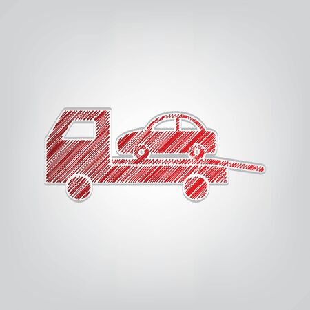 Tow car evacuation sign. Red gradient scribble Icon with artistic contour gray String on light gray Background.