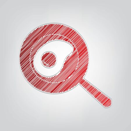 Omelet at pan icon. Red gradient scribble Icon with artistic contour gray String on light gray Background. Illustration
