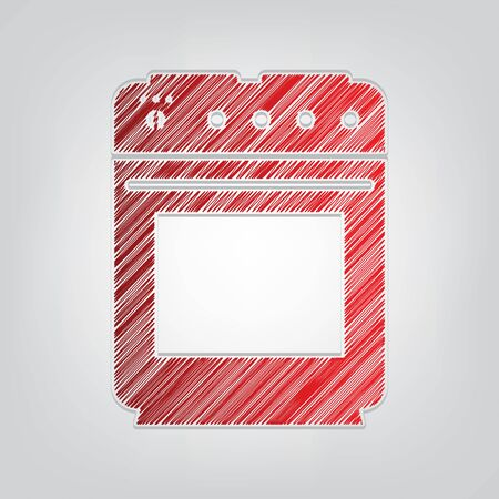 Stove sign. Red gradient scribble Icon with artistic contour gray String on light gray Background.