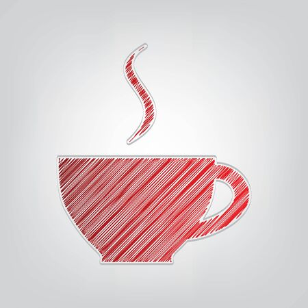 Cup sign with one small stream of smoke. Red gradient scribble Icon with artistic contour gray String on light gray Background.